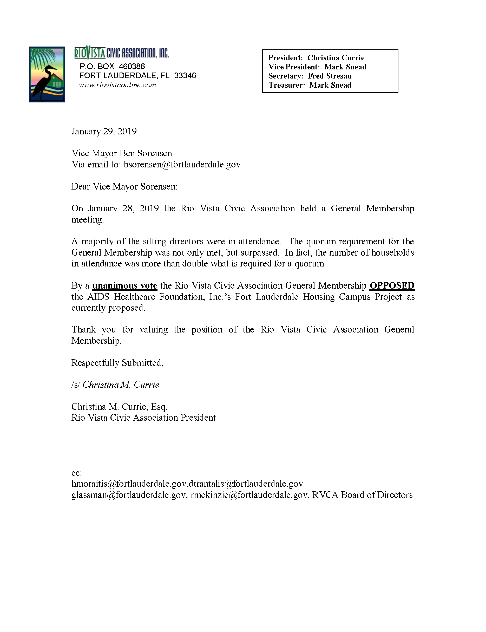 1.29.19 RVCA BOARD COMMUNICATION TO COMMISSION